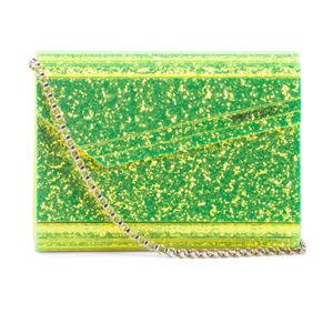 JIMMY CHOO Disco Glamour Glitter Clutch with Chain